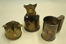 WWI Trench Art 2x pieces made from 18 pound shells