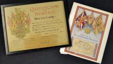 Cheshire Regiment Certificates of Service to Quart