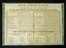 Railway Grand Junction Timetable 1838 detailing th