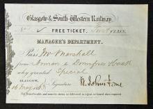 Railway 1863 Glasgow & South Western Railway Ticke