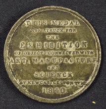 Newcastle Exhibition Medallion 1840 for Arts, Manu