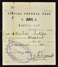 South Africa Boer War Martial Law Special Pass 190