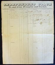 Large Stage Coaching Waybill 1837 Independent Coac