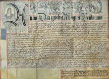 Fine Queen Anne Portraited Recovery Deed 1711 in r