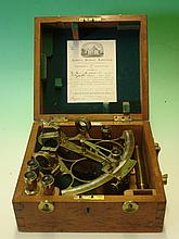 An English Brass Sextant. The silver register sign
