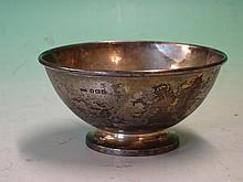 Silver Bowl of plain form. Engraved initials. Birm