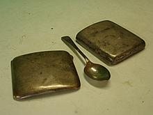 Two Silver Cigarette Cases together with a silver