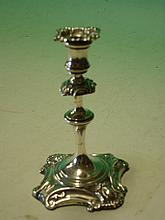 Silver Taperstick Rococo in form^ engraved inscrip