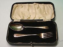 A Silver Christening Spoon and Fork. Cased. Sheffi