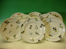 Royal Worcester. A set of 8 plates decorated in co