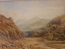 J Morris. River valley with sheep. Signed and date
