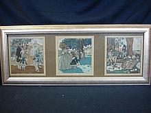 Pierre Brissaud. Three fashion prints mounted in o