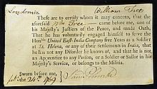 India 1769 East India Company Certificate sworn by