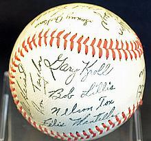 Signed c1966 Houston Astros Baseball featuring pla