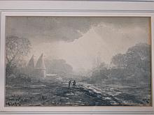 English School 19th Century. Kent landscape with o