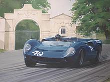 Graham Turner bn. 1964. A Lola T70 at Eau-Rouge co