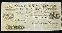 1860 Unissued £20 Banknote by Swaledale & Wensleyd