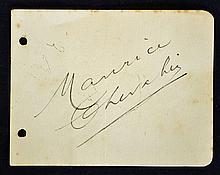 Interesting autograph of Entertainer Maurice Cheva