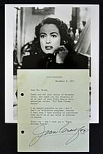 1976 Signed Joan Crawford printed letter c/w black