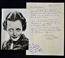 1977 Signed Mary Astor hand written letter c/w ori
