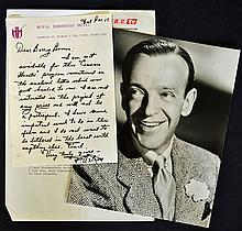 1976 Signed Fred Astaire hand written letter c/w b