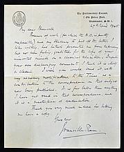 Hand Signed Sir Granville Ram handwritten letter f