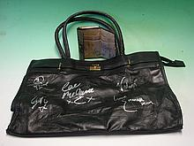 Spice Girls Memorabilia. A leather bag and brown p