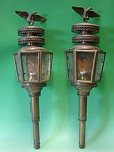 A Pair of Brass Carriage Lamps each with an eagle