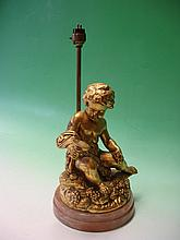A Gilt Plaster Cherubic Table Lamp raised on a har
