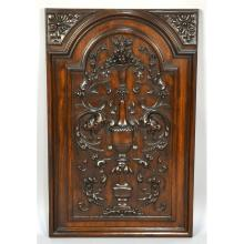 Large Antique Carved Walnut Flower Panel