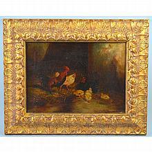 Jef Louis van Leemputten (Belgium, 1865-1948), Rooster, Hens and baby Chickens