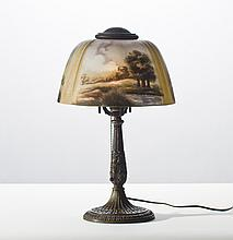 Reverse Painted Glass Pittsburg Scenic Table Lamp