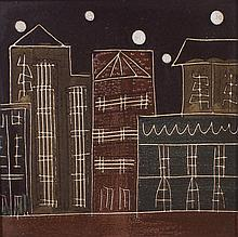 Harris B. Strong Modernist Cityscape Ceramic Tile