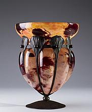 Charles Schneider Art Deco Glass & Iron Vase