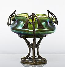 Loetz Art Nouveau Iridescent Glass & Bronze Bowl