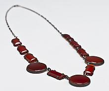 Art Deco Sterling Silver & Carnelian Necklace
