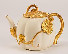 Royal Worcester 1893 Gilt Lily Porcelain Teapot