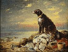 Continental 19C Oil Painting of a Dog on a Shore