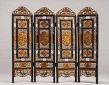 Signed Chinese 4-Panel Carved Bone Table Screen