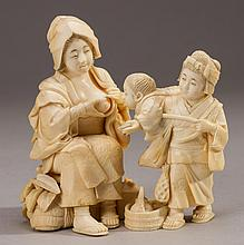 Signed Japanese 19C Carved Ivory Figural Group Figurine