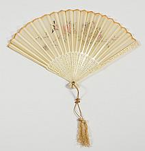 Antque Chinese Carved Bone and Embroidered Silk Fan