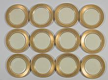 Set of 12 Royal Worcester Porcelain Gilt Jeweled Plates