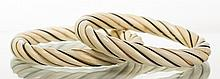Pair of Asian Ivory Twist Carved Gold Wire Bangles