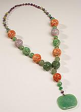 Chinese Jade Amethyst & Carved Coral Graduated Necklace