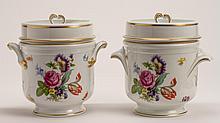 Pair of French Limoges Porcelain Gilt Floral Cache Pots