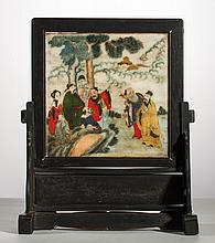 Signed Chinese 19C Handpainted Marble 19