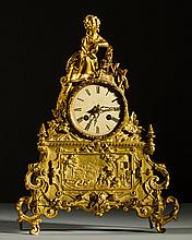 Ornate French 19C Gilt Bronze Figural Lady Mantle Clock