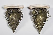 Pair of Bronze Seashell and Marble 16