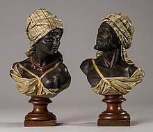 Cold Painted 19C Bronzed Busts of Arabian Man & Woman