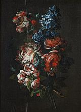 Early 17C Spanish Floral Oil Painting on Wood Panel